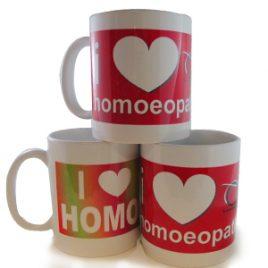 i love homoeopathy mug in rainbow & pink